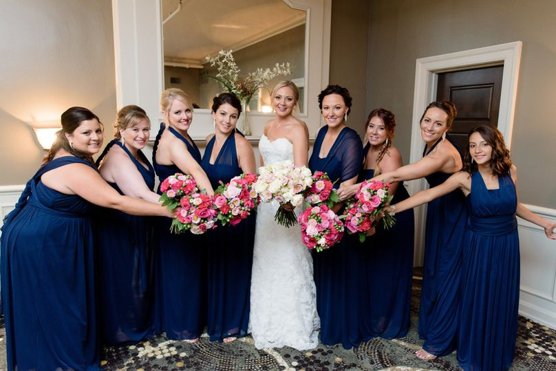 Bouquets of the bride, maid of honor, and bridesmaids