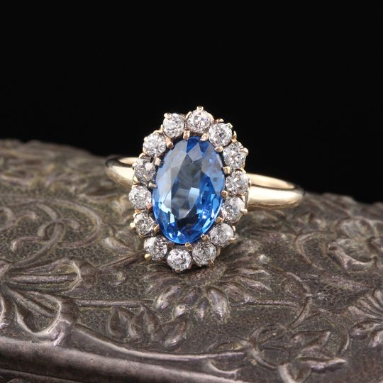 Victorian diamond spinel ring