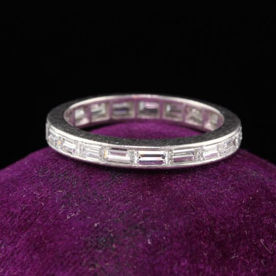 Art deco baguette diamond band