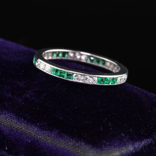 Art deco diamond emerald band