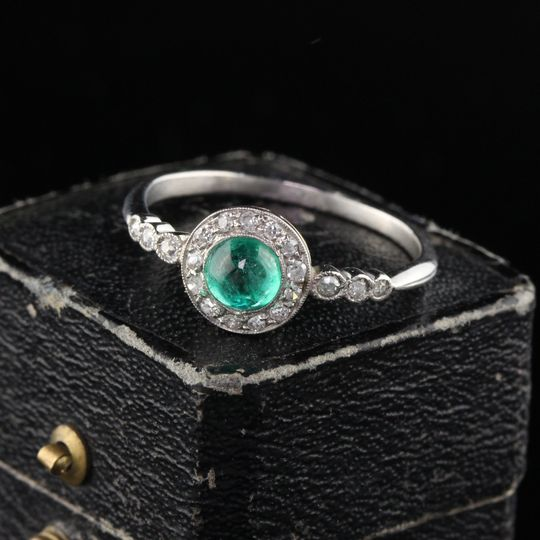 Art Deco French Emerald Ring