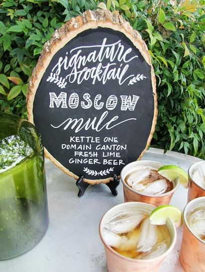 chalkboard signature drink sign the knot