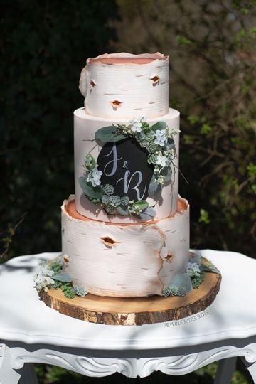 Birch monogram cake