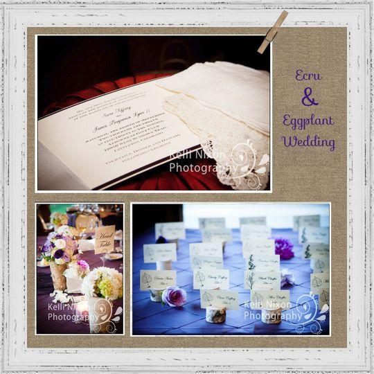 eggplant and ecru wedding