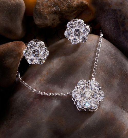 Diamond cluster earrings and pendant