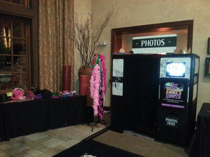 Booth set-up & prop table.