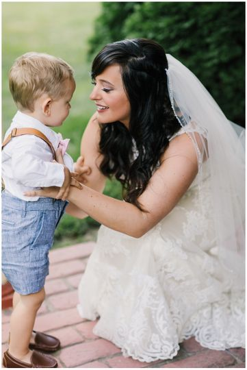 Bride with her son