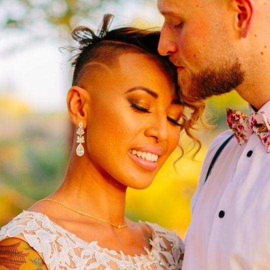 A gorgeous newlywed couple