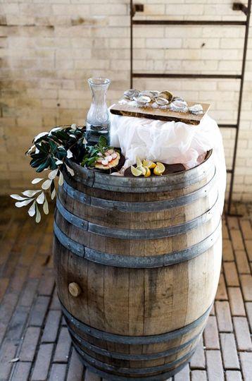 Rustic reception barrels