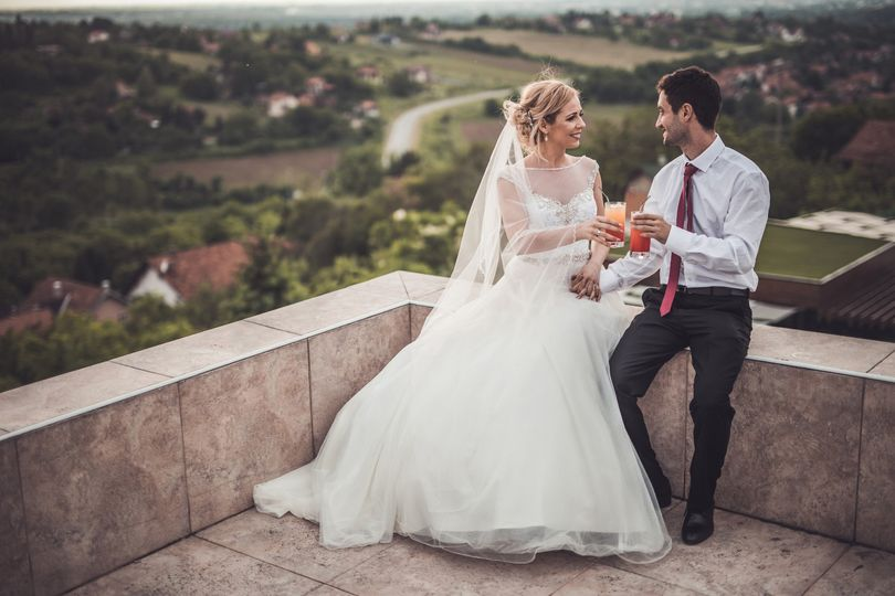 Bride and Groom w/ drinks