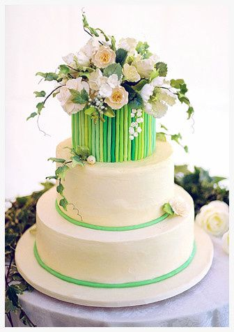 3-tier green wedding cake