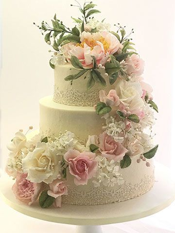 2-tier floral cake