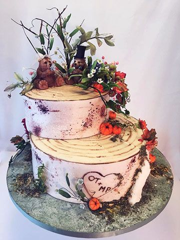 Tmx Bears Birch Bark Wedding Cake 51 156057 Stowe, VT wedding cake