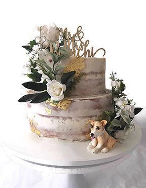Tmx Naked Cake With Elias The Dog And 24k Gold Trim 51 156057 Stowe, VT wedding cake