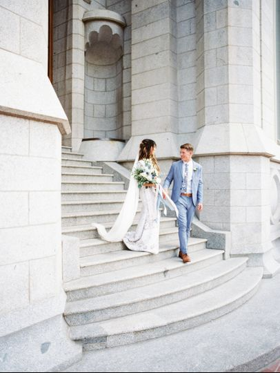 Salt Lake City Temple wedding with periwinkle details. Reception was held at McCune Mansion.