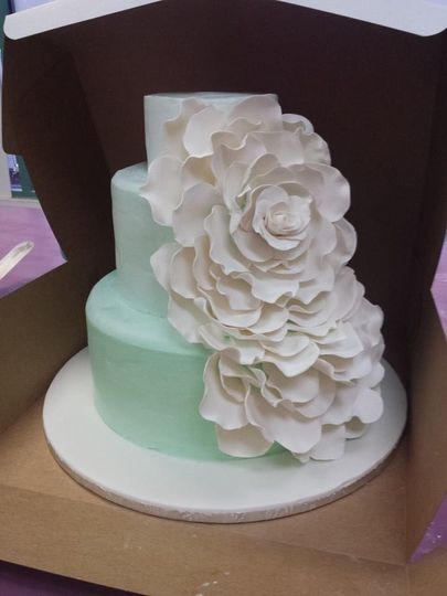 Mint colored cake with flowers
