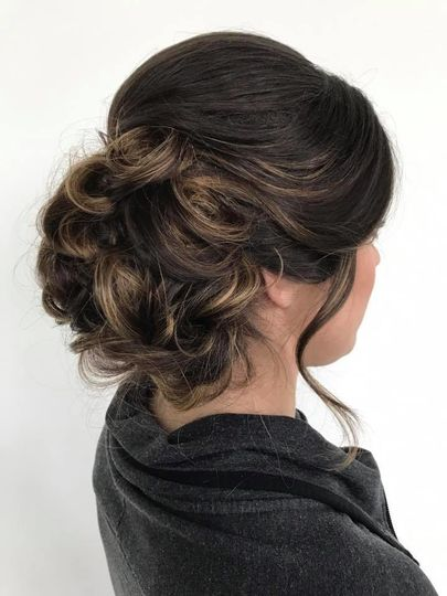 Updo with curled front