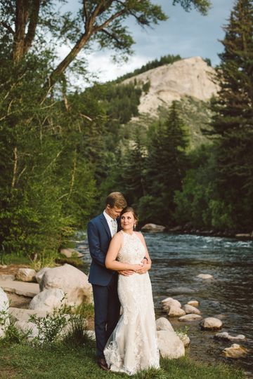 Couple by stream - Colorado Wedding Photography