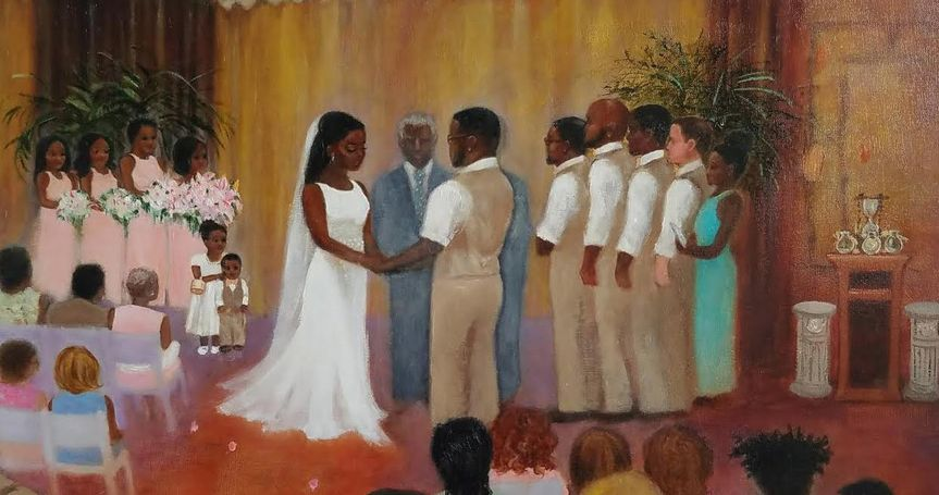 wedding painting that was created indoors at last minute due to the beach venue being rained out.