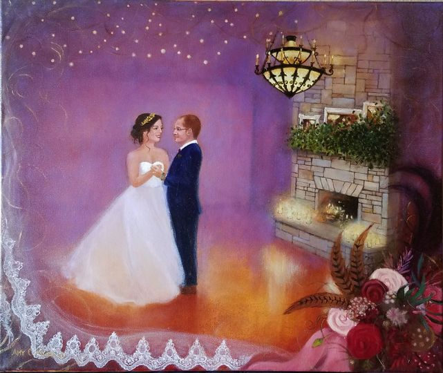 November wedding done in a storybook theme with details of the veil and bouquet on the border as...