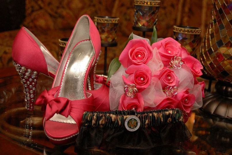 Pink bridal shoes and bouquet