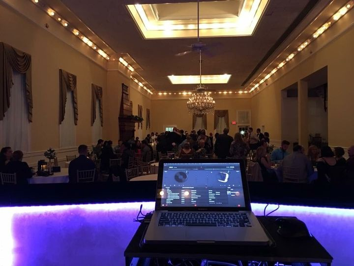 DJ booth overlooking the guests