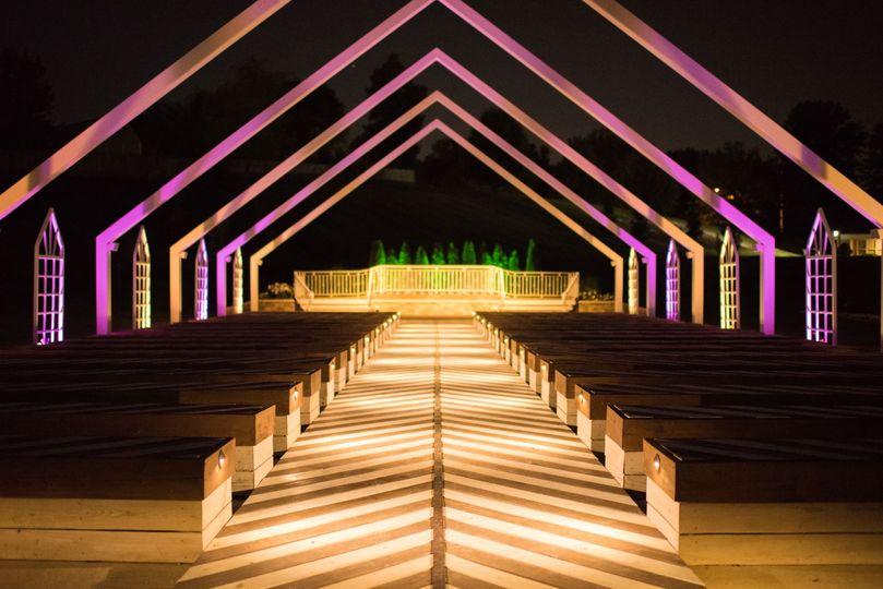 Open air chapel at night