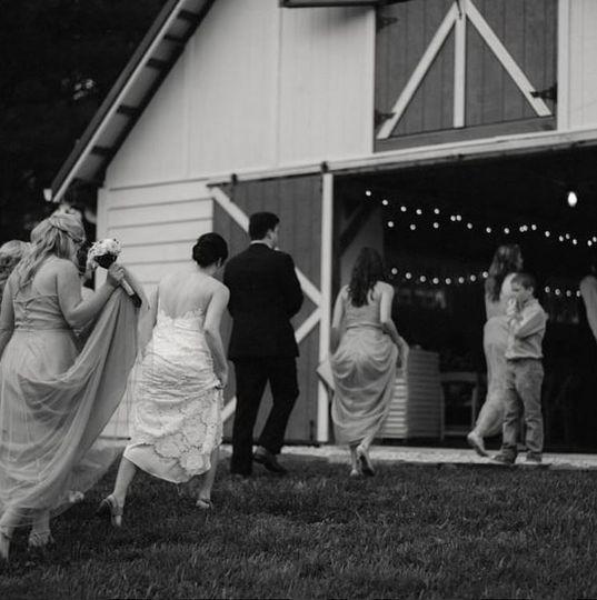 Entering the wedding reception
