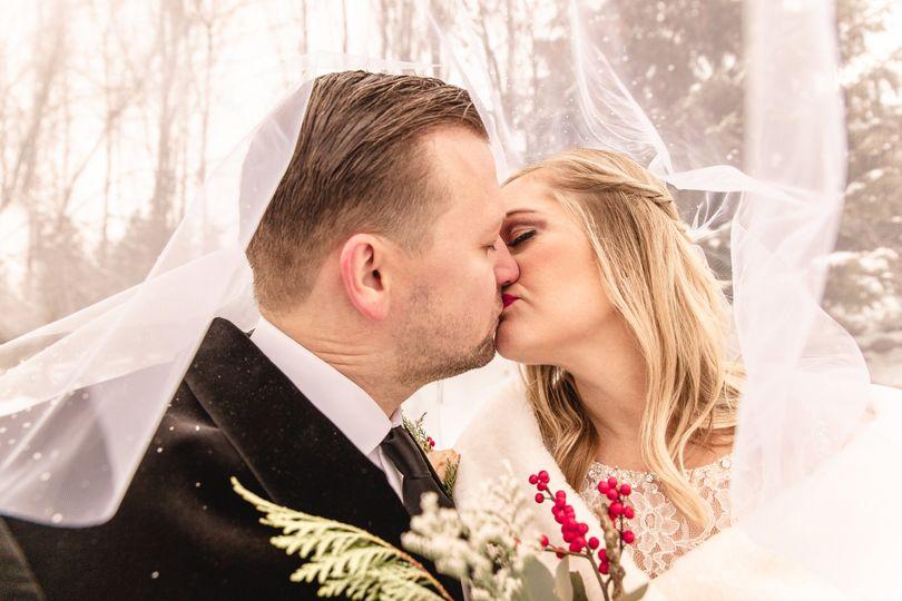 Under the bride's veil