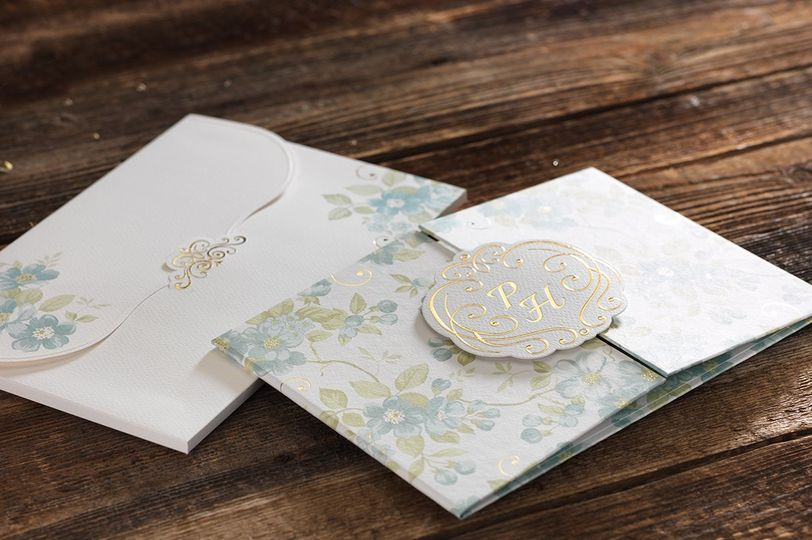 Floral envelope, invitation, and seal
