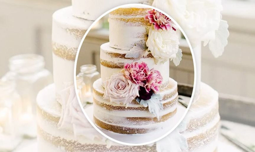Custom 'naked' cake with floral decor