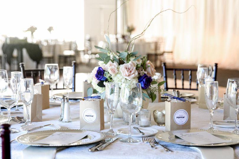 White themed reception set-up