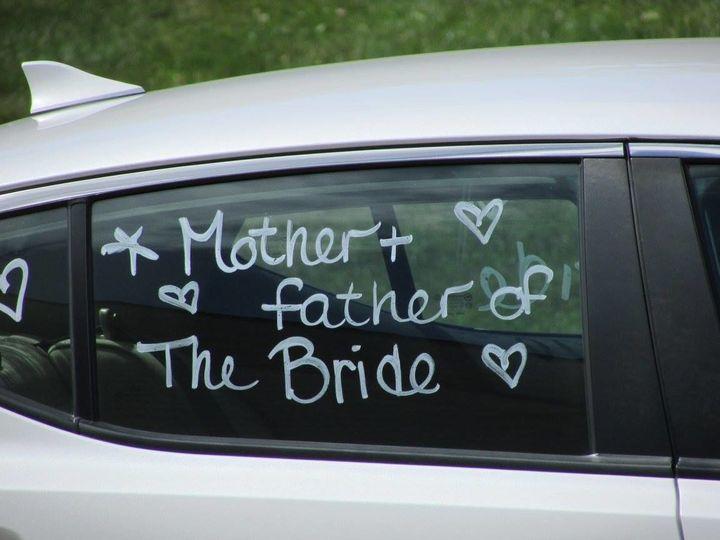 The bride's parents car