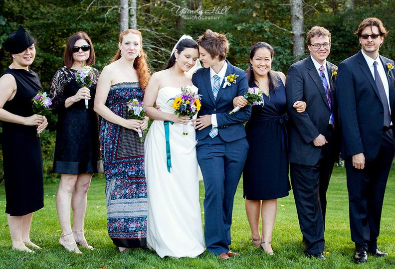 maine wedding photographer wedding party fall