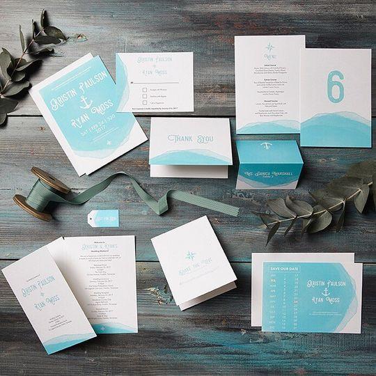 White and sky blue invitation