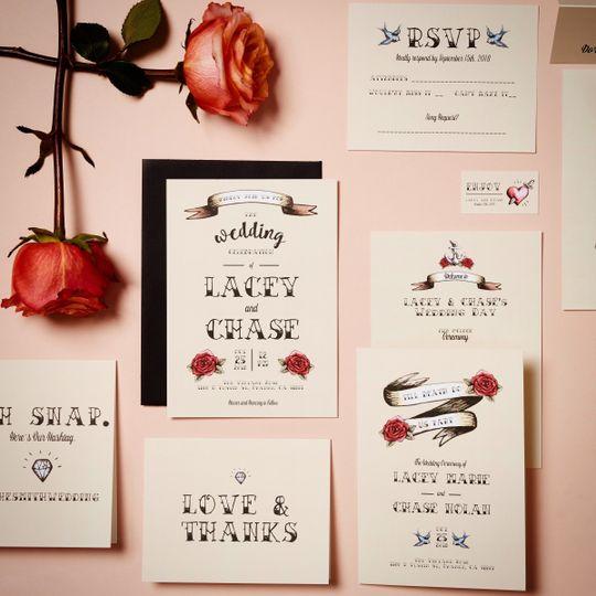 Rose themed wedding invite
