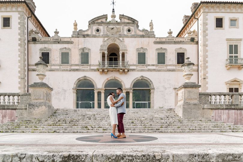 Engagement Photo on the east terrace of the main house at Vizcaya Museum and Garden