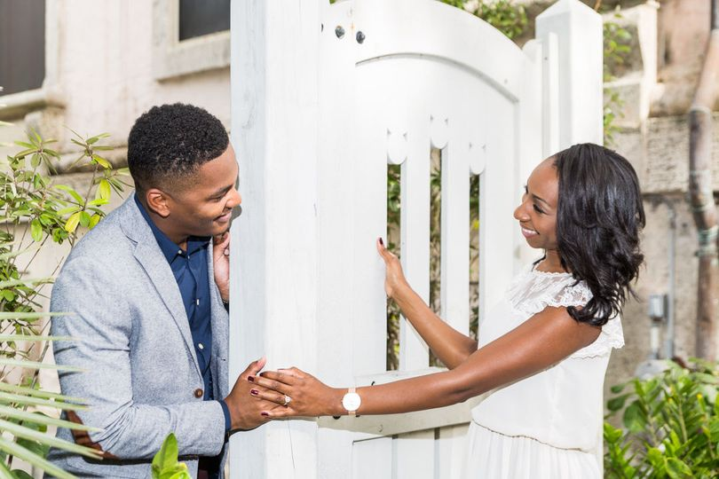 African American Bride and Groom Engagement Photo at Vizcaya Museum and Garden