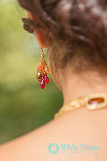 Detail shot of boho bride ear ring
