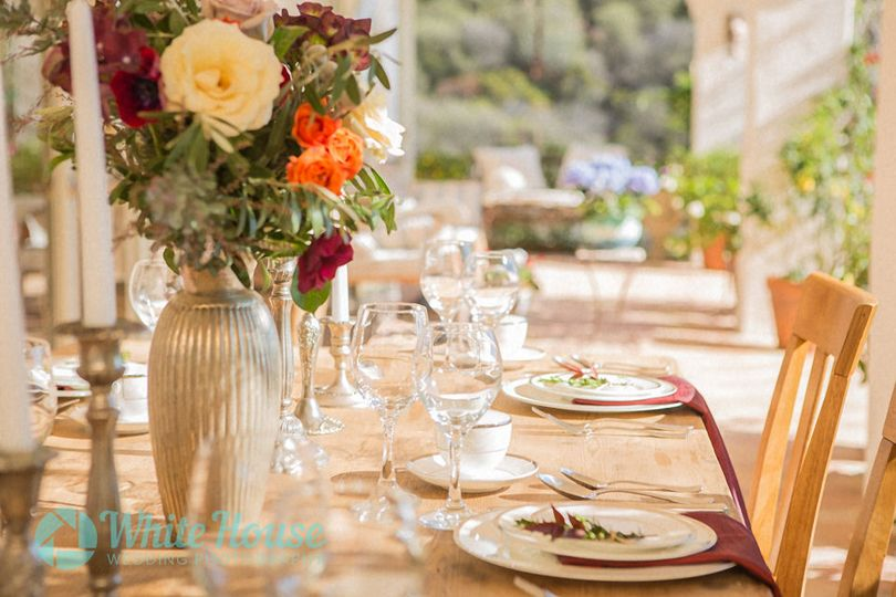 Detail shot of table setting at the reception location