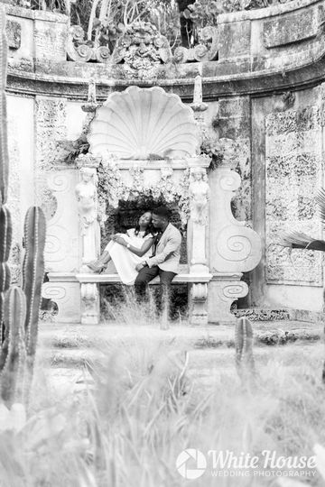 Black and White Photo of Couples Engagement Session at Vizcaya Gardens And Museum Miami