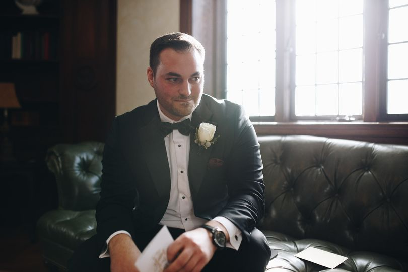 Groom reading a note