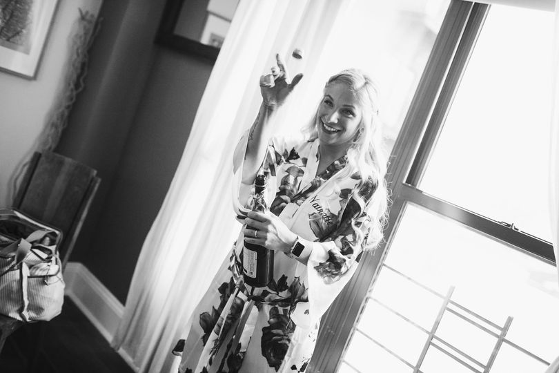 Bride popping the cork