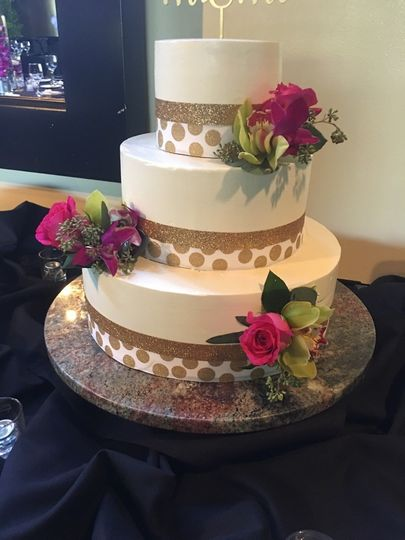 Beautiful Three Tiered Wedding Cake made by Spencer's In-House Pastry Team.