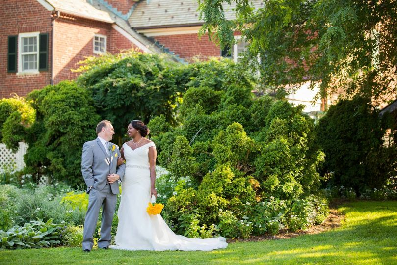 Newlyweds in the garden
