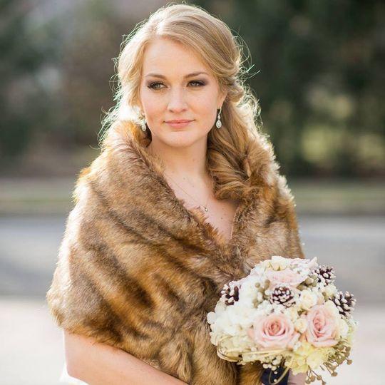 Bride in a fur coat