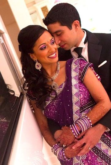 Manisha in color!  Purple dress for reception.  Went from an updo with a long Veil to half-up...
