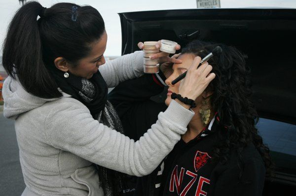 Doing Makeup at the Beach with Justina after the Airbrush Spray Tan.