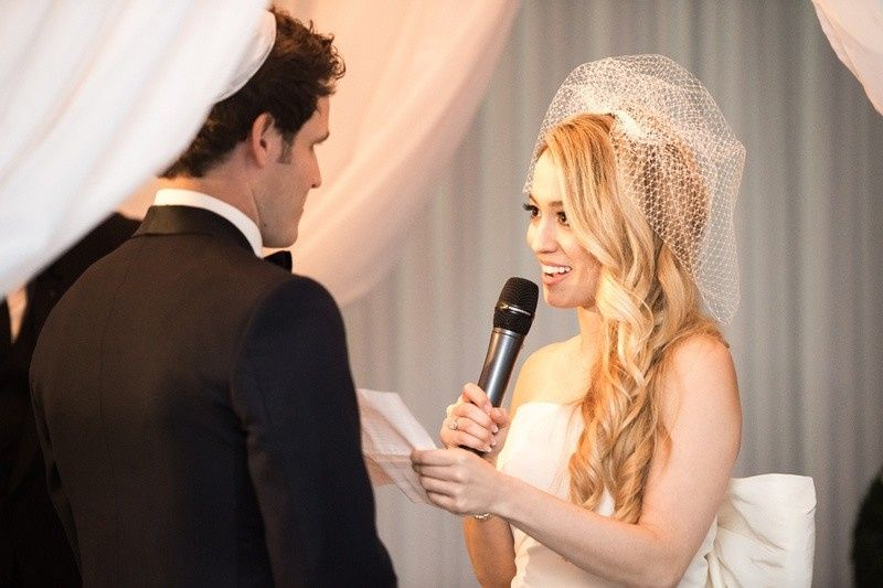 When you're reading your vows to one another, make sure everyone else can hear it.