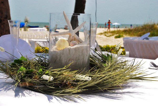 Beachy Wreaths wedding wreath of silk sea grasses with glass globe filled with sand, star fish, sand...